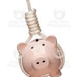 Piggy Bank Hanging in Hangman's Noose on White