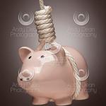 Piggy Bank Hanging in Hangman's Noose