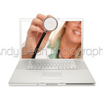Female Doctor Holding Stethoscope Through Laptop Screen Isolated on a White Background.